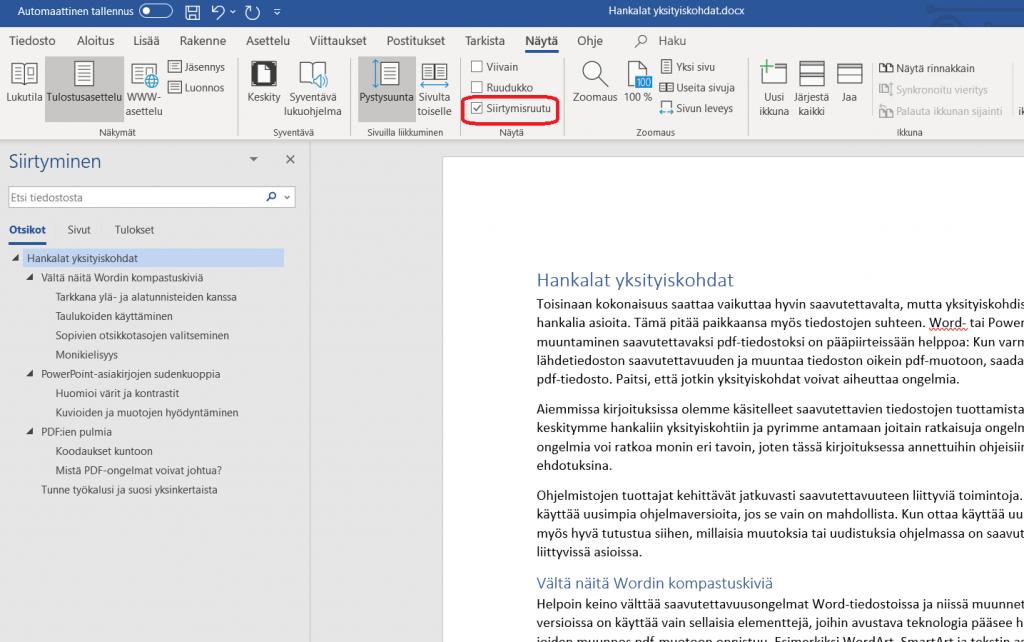Word-ohjelmassa on auki Siirtyminen-ikkuna, jossa asiakirjan otsikkotaso 1 näkyy vasemmalla ja alaotsikot sisennettyinä oikealle päin.
