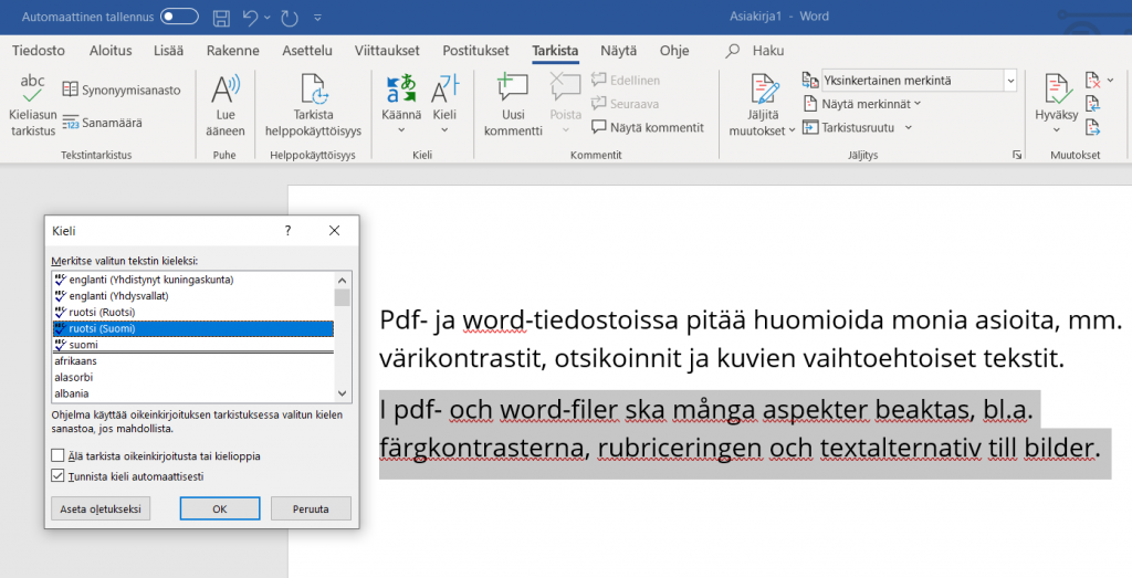 Word-tiedostossa on maalattuna ruotsinkielinen teksti ja sille määritetään Kieli-ikkunassa kieleksi ruotsi (Suomi).