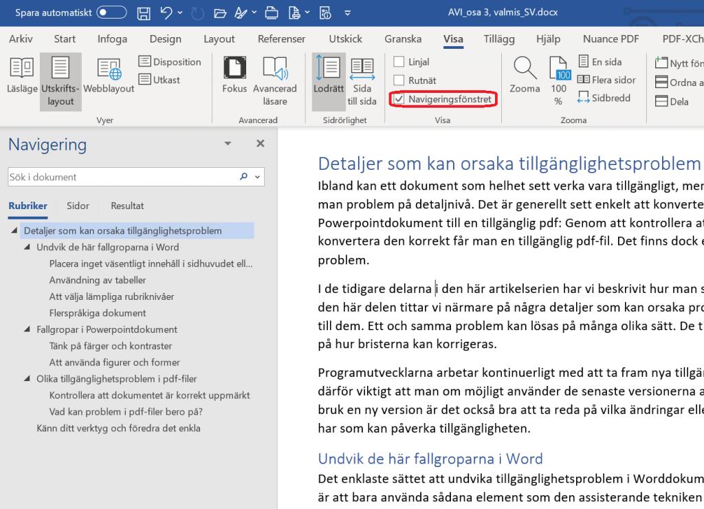Navigeringsfönstret är öppet i programmet Word. Dokumentets rubrik på nivå 1 syns till vänster och underrubrikerna är indragna till höger.