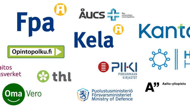 Kooste valvonnan kohteeksi valikoituneiden organisaatioiden ja digipalvelujen logoista
